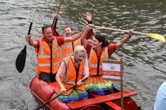 "Kingsbridge - Kingsbridge Fair Week - Raft Race - Triumphant ""Special Delivery"" celebrating their Win"